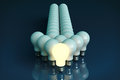 Leadership concept. One glowing light bulb standing in front of Royalty Free Stock Photo