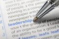 Leadership fountain pen pointing word Royalty Free Stock Photos