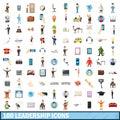 100 leadership icons set, cartoon style