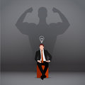 Leadership isometric flat concept.businessman with shadows on the wall.