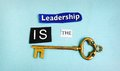 Leadership key is the spelled out with paper scraps and an antique Royalty Free Stock Photo