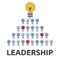 Leadership set of bulbs one big yellow lead the rest representing Royalty Free Stock Photography