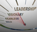 Leadership speedometer vision fearless bold direction the words and on a racing in a new to achieve a group or organization s Royalty Free Stock Photo