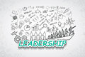 Leadership text, With creative drawing charts and graphs business success strategy plan idea, Inspiration concept modern design te Royalty Free Stock Photo