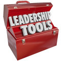 Leadership tools skill management experience training d words in red toolbox to illustrate skills and learning for your job or Royalty Free Stock Photography