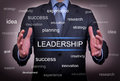 Leadership between two hand on touch screen Royalty Free Stock Image
