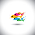 Leadership vector concept - colorful team of fishes united Stock Photography