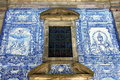 Leadlights and azulejos at capela das almas in porto portugal Stock Image