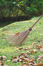 Leaf broom in the garden with fallen leaves Stock Photos