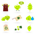 Leaf characters and nature icons on white Royalty Free Stock Photo
