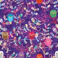 Leaf cut style owl handmade decor seamless pattern