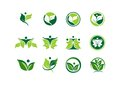 Leaf, ecology, plant, logo, people, wellness, green, nature, symbol, icon Royalty Free Stock Photo