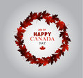 Leaf line Canada Day card in vector