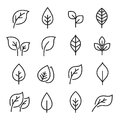 Leaf line icon set Royalty Free Stock Photo
