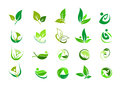 Leaf, logo, organic, wellness, people, plant, ecology, nature design icon set Royalty Free Stock Photo