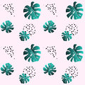 A leaf of monstera and dots. Pink seamless pattern