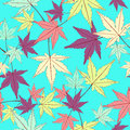 Leaf seamless pattern, vector background. Multicolored abstract leaves on a blue . For the design of wallpaper, fabric Royalty Free Stock Photo