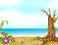 A leafless tree on a beautiful beach illustration of Stock Photography
