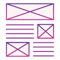 Leaflet promo flat icon. Layout of document violet icons in trendy flat style. Brochure template gradient style design Royalty Free Stock Photo