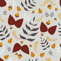 Leafs and acorns seamless vector pattern Royalty Free Stock Photo