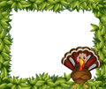 A leafy border with a turkey illustration of on white background Royalty Free Stock Photo