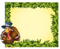 A leafy frame with a turkey illustration of on white background Stock Images