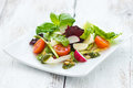 Leafy salad and mozzarella with pesto and tomatoes Royalty Free Stock Photo