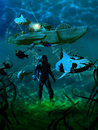 Leagues under the sea captain nemo walking underwater close to nautilus and several remains of ships vertical version Stock Images