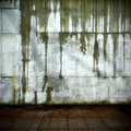 Leaking concrete wall old with shabby floor Stock Photo