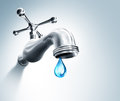 Leaking Faucet A Droplet Royalty Free Stock Photo