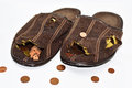 Leaky brown slippers. Royalty Free Stock Photo