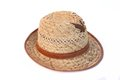 Leaky straw hat isolated on white Royalty Free Stock Images