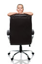 Lean on back of the armchair black office and smiling Royalty Free Stock Photography