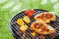 Lean healthy chicken breasts on a bbq grilling over the hot coals portable with fresh tomatoes and potatoes for low fat Stock Photos