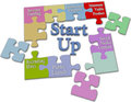 Lean start up business plan solution jigsaw puzzle pieces put together entrepreneur model Royalty Free Stock Photo