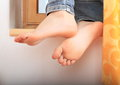 Leaning bare feet Royalty Free Stock Photo