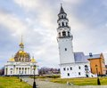 Leaning tower of nevyansk russia suggestive view and cathedral neviansk Royalty Free Stock Photos