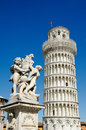 Leaning tower of pisa the fountain angels with the in piazza dei miracoli in italy Stock Images