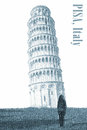 Leaning tower of pisa italy illustration a human silhouette next to the from Royalty Free Stock Image