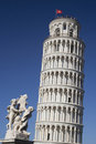 Leaning Tower of Pisa and Statue Stock Photo