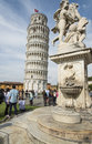 Leaning tower pisa tuscany italy europe view of the with the fountain of cherubs Royalty Free Stock Photos