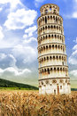 Leaning tower of pisa in tuscany italy the famous a new bucolic setting away from the tourists away from the city completely Stock Photography