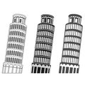 Leaning tower of pisa vector set Royalty Free Stock Images