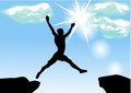 Leap across the chasm man eps Stock Image