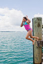 Leap off wharf Royalty Free Stock Photography