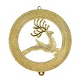 Leaping reindeer glitter christmas medal isolated on a white background Stock Image