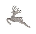Leaping reindeer glitter christmas ornament isolated on a white background Royalty Free Stock Photo