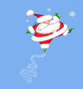 Leaping santa claus cartoon of a fat in the air Royalty Free Stock Photography