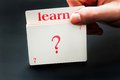 Learn card from question deck of cards Stock Photos