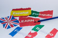 Learn concept languages italiano english francaise espanol portugues Royalty Free Stock Photos